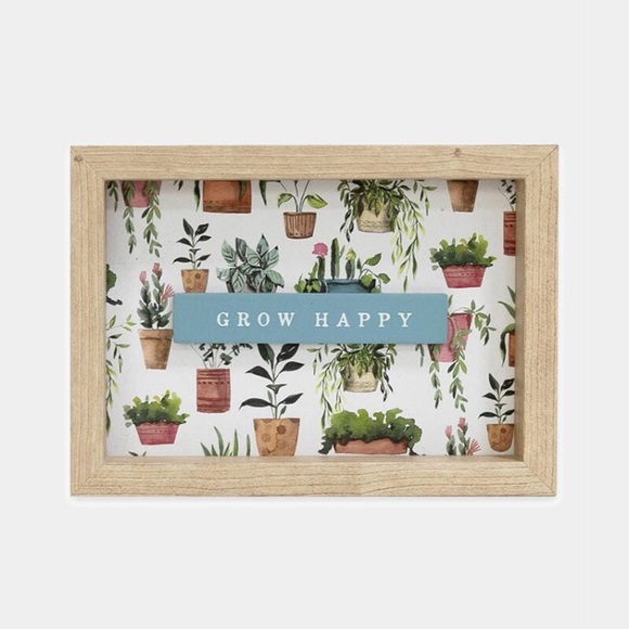 """Urban Outfitters """"Grow Happy"""" Wood Decor Piece"""